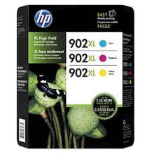 Original HP 902XL High Yield 3-Pack Cyan, Magenta, Yellow Ink Cartridges in Retail Packaging (T0A41BN)