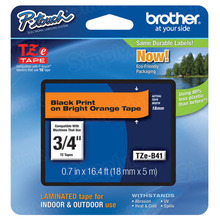 Brother TZeB41 Black on Fluorescent Orange OEM 3/4 Label Tape