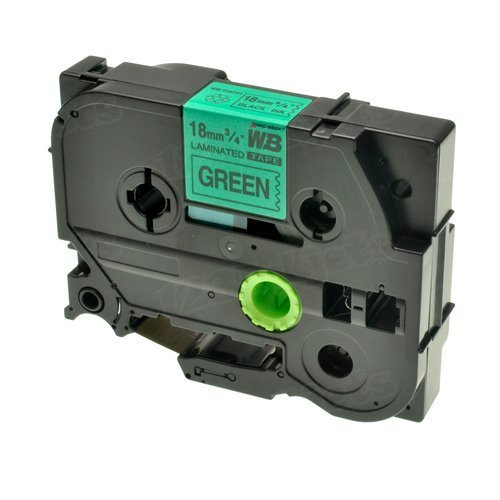 Brother TZe-741 3/4 Black on Green OEM Tape