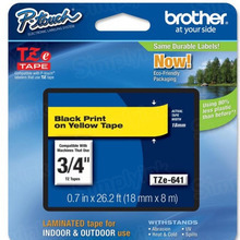Brother TZe641 Black on Yellow OEM 3/4 Label Tape