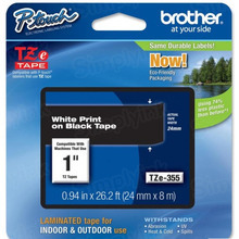 Brother TZe355 White on Black OEM 1 Label Tape