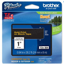 Brother TZe354 Gold on Black OEM 1 Label Tape