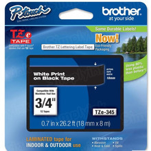 Brother TZe345 White on Black OEM 3/4 Label Tape