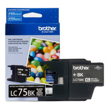 Brother LC75BK Black OEM Ink Cartridge, High-Yield