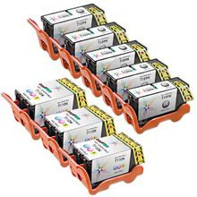 8-Pack of Compatible Ink Cartridges for Dell Series 24 High Yield Black & Color Ink for the P713 & V715