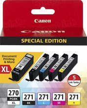 Canon OEM 0319C006 (PGI-270XL and CLI-271) Black & Tri-color Ink Cartridge 5-pack