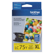 Brother LC75Y Yellow OEM Ink Cartridge, High-Yield