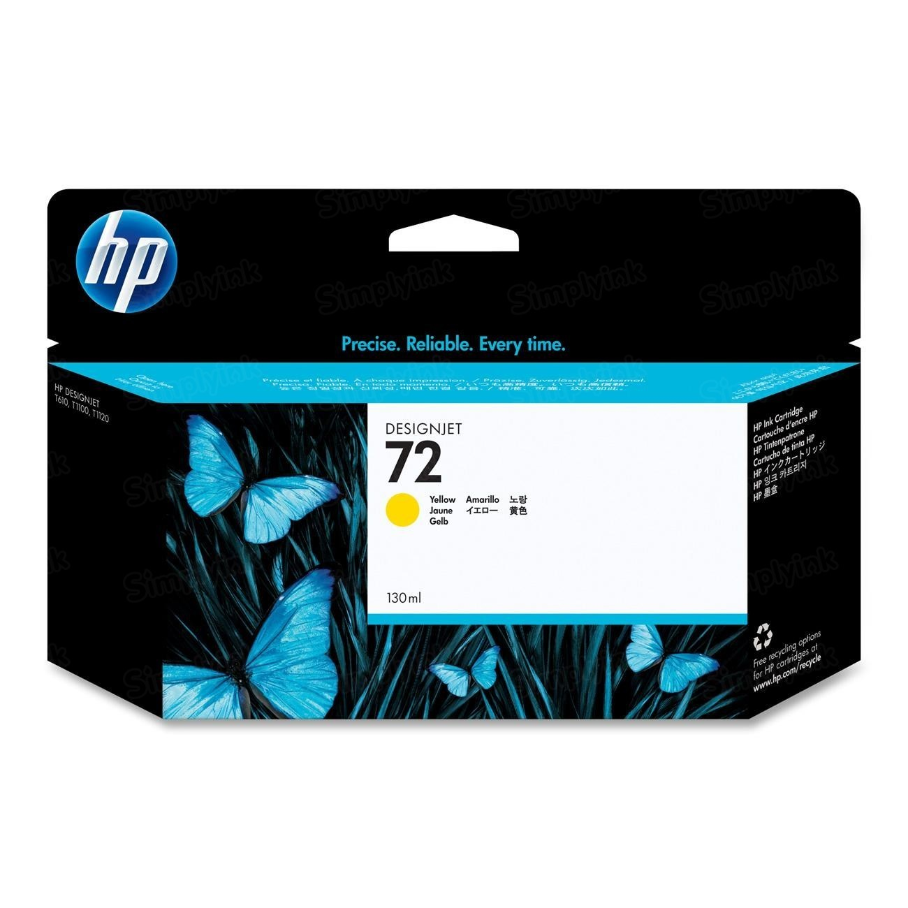 HP 72 Yellow Original Ink Cartridge C9373A