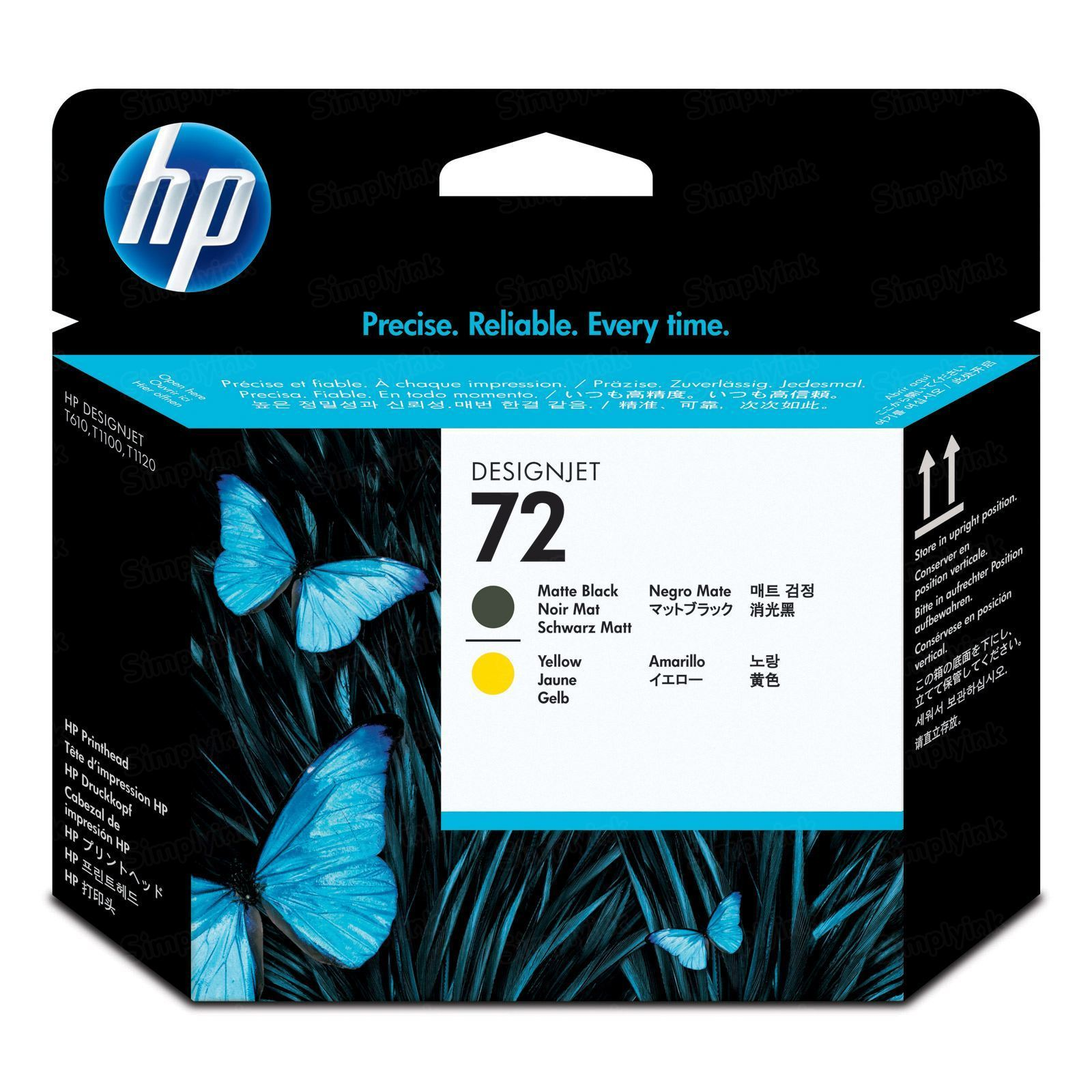 HP 72 Matte Black and Yellow Original Printhead C9384A