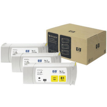 HP 81 Yellow Original Ink Cartridge 3PK C5069A