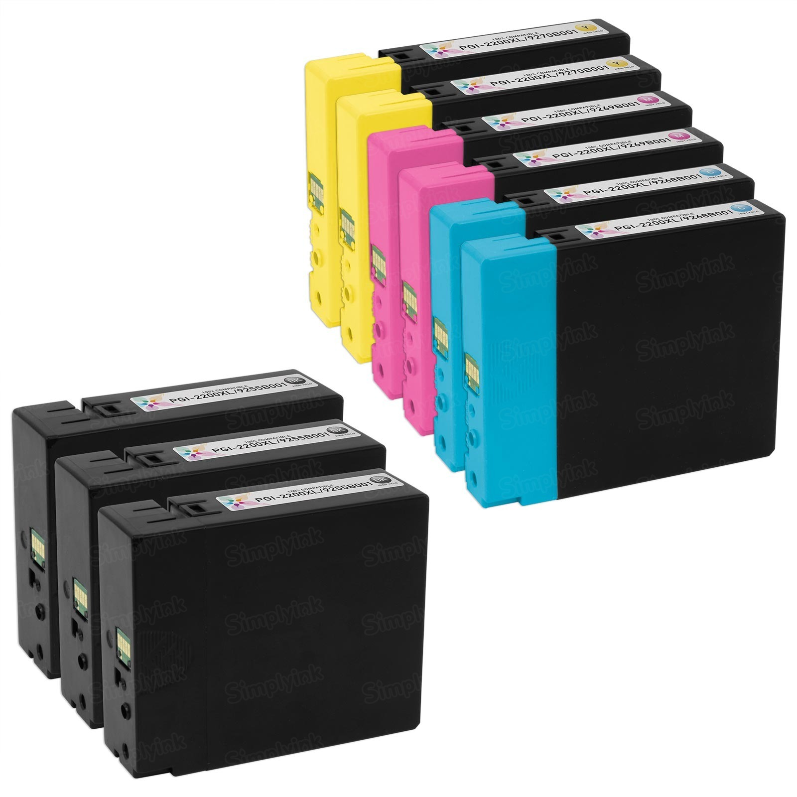 Canon PGI-2200XL 9 Piece Ink Cartridge Set, Compatible