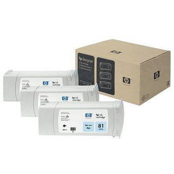 HP 81 Light Cyan Original Ink Cartridge 3PK C5070A