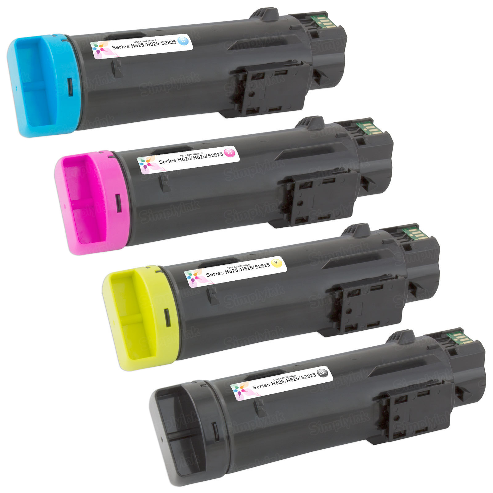 Compatible Set of 4 (Bk, C, M, Y) Toners for the Dell Laser H625 and H825