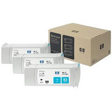 Original HP 83 Cyan Ink Cartridge 3-Pack in Retail Packaging (C5073A) High-Yield