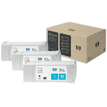 HP 83 Cyan Original Ink Cartridge 3PK C5073A