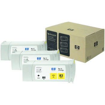 HP 83 Yellow Original Ink Cartridge 3PK C5075A