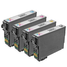 Remanufactured 4 Pack for Epson 288XL: 1 Black, Cyan, Magenta, Yellow