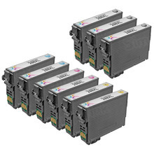 Remanufactured Epson Bulk Set of 9 High Yield Ink Cartridges - 3 Black T288XL120 and 2 each of: Cyan T288XL220, Magenta T288XL320 and Yellow T288XL420