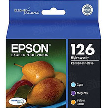 Original Epson 126 OEM High Yield Ink Cartridge Color 3-Pack, T126520, C/M/Y