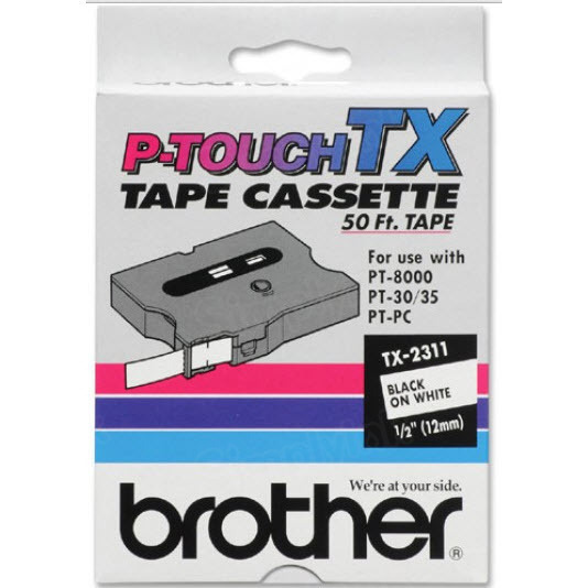 Brother TX-2311 1/2 Black on White OEM Tape