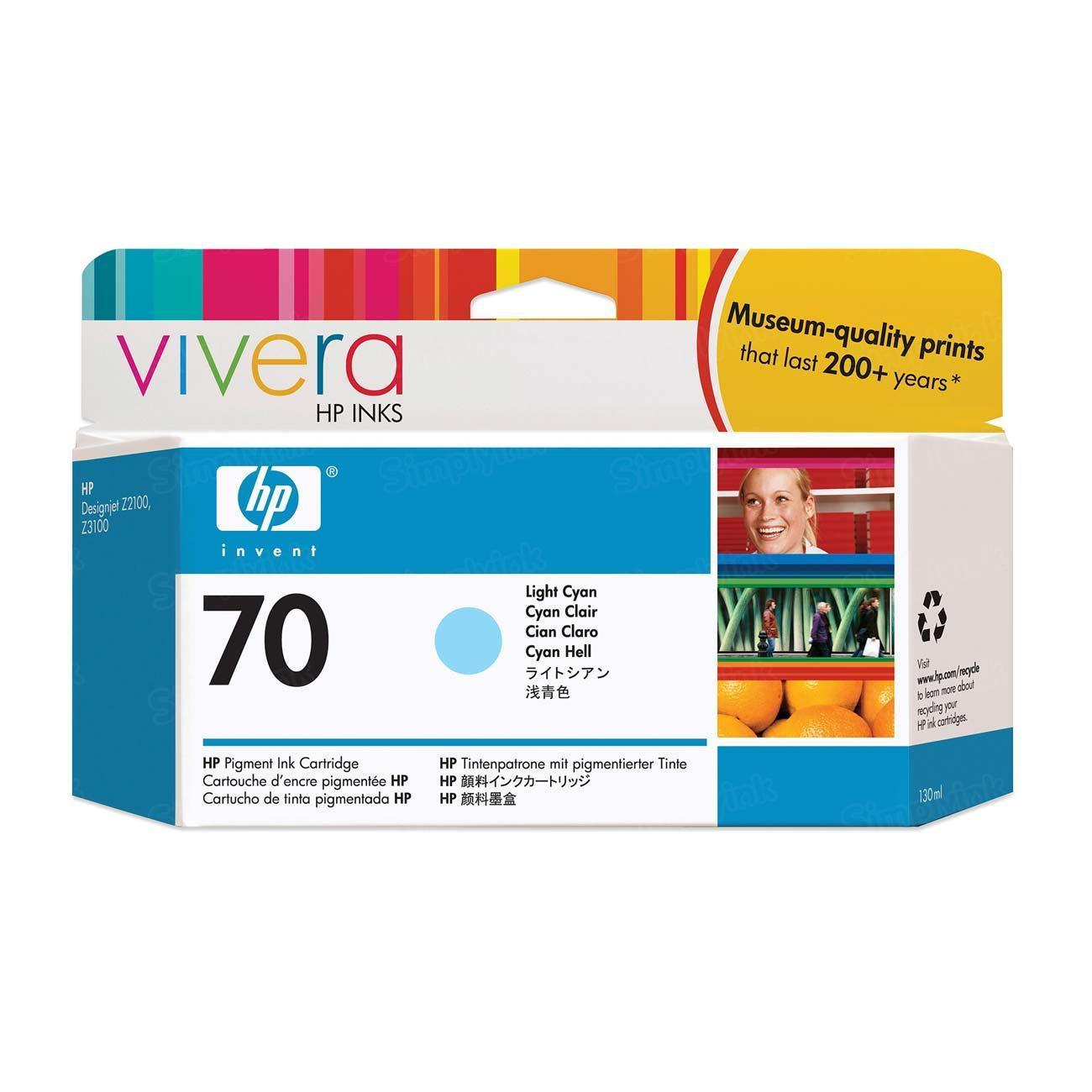 HP 70 Light Cyan Original Ink Cartridge C9390A