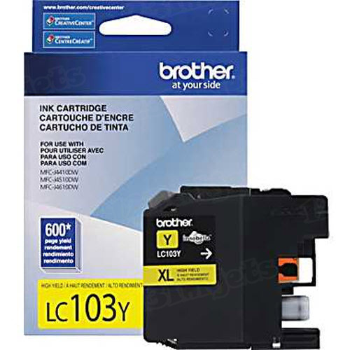 Brother LC103Y Yellow OEM High-Yield Ink Cartridge