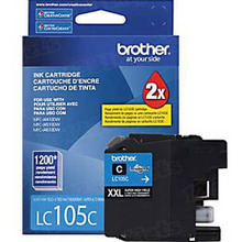 Brother LC105C Cyan OEM Ink Cartridge, Extra High-Yield