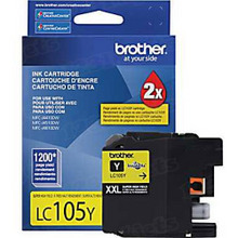 Brother LC105Y Yellow OEM Ink Cartridge, Extra High-Yield