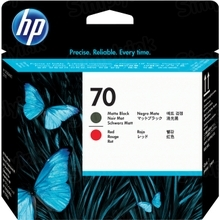 Original HP 70 Matte Black and Red Printhead in Retail Packaging (C9409A)