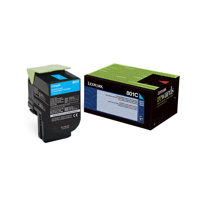 Lexmark Original Cyan Return Program Toner, 80C10C0 (801C)