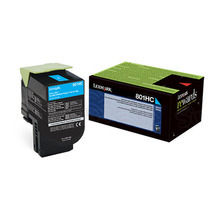 Lexmark OEM High Yield Cyan Return Program Laser Toner Cartridge, 80C1HC0 (CX410/CX510 Series) (3K Page Yield)