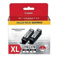 Canon OEM 0319C005 (PGI-270XL) High-Yield Black Ink Cartridge, Twin Pack