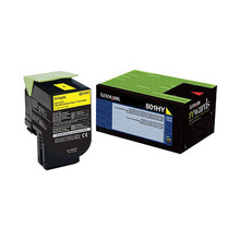 Lexmark OEM High Yield Yellow Return Program Laser Toner Cartridge, 80C1HY0 (CX410/CX510 Series) (3K Page Yield)