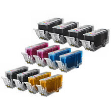 Compatible Canon Bulk Set of 12 PGI220 and CLI221 Ink Cartridges 4 pigment Black PGI220 and 2 each of CLI221: Black (2946B001), Cyan (2947B001), Magenta (2948B001) and Yellow (2949B001)