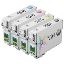 Remanufactured 4 Pack for Epson 69: 1 Black, Cyan, Magenta, Yellow