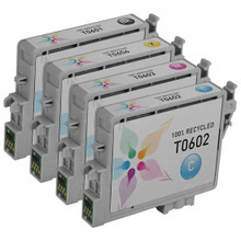 Remanufactured 4 Pack for Epson T060: 1 Black, Cyan, Magenta, Yellow