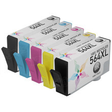 Remanufactured 5 Pack for HP 564XL: 1 Black, Cyan, Magenta, Yellow, Photo Black