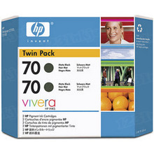 Original HP 70 Matte Black Ink Cartridge 2-Pack in Retail Packaging (CB339A) High-Yield