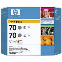 Original HP 70 Gray Ink Cartridge 2-Pack in Retail Packaging (CB341A) High-Yield