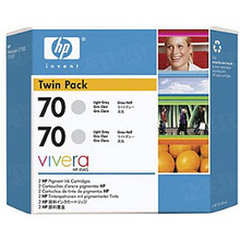 Original HP 70 Light Gray Ink Cartridge 2-Pack in Retail Packaging (CB342A) High-Yield