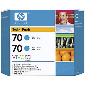 HP 70 Cyan Original Ink Cartridge 2PK CB343A