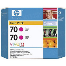 Original HP 70 Magenta Ink Cartridge 2-Pack in Retail Packaging (CB344A) High-Yield