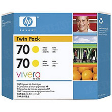 Original HP 70 Yellow Ink Cartridge 2-Pack in Retail Packaging (CB345A) High-Yield