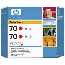 Original HP 70 Red Ink Cartridge 2-Pack in Retail Packaging (CB347A) High-Yield