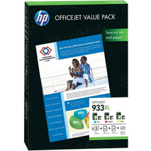 Original HP 933XL Cyan, Magenta and Yellow Ink Cartridges and A4 Paper - CR711AE OfficeJet Value Pack in Retail Packaging