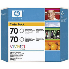 Original HP 70 Gloss Ink Cartridge 2-Pack in Retail Packaging (CB350A) High-Yield