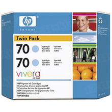 Original HP 70 Light Cyan Ink Cartridge 2-Pack in Retail Packaging (CB351A) High-Yield