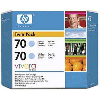 HP 70 Light Cyan Original Ink Cartridge 2PK CB351A