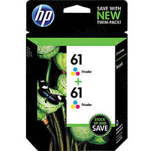 Genuine HP 61 Tri-Color Ink Twin Pack in Retail Packaging, (CZ074FN)