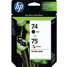 Original HP 74 Black and 75 TriColor Combo Ink Pack in Retail Packaging, (CC659FN)